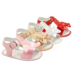 Summer Baby Toddler Kids Girls Butterfly Bows Shoes Solid Sa