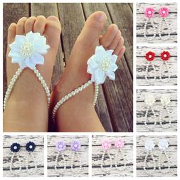 Summer Kids Baby Girls Flower Sandals Pearl Foot Band Toe Ri