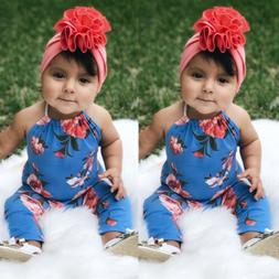 Summer Newborn Baby Girl Floral Romper Bodysuit Jumpsuit Out