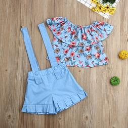 Pudcoco Summer Toddler Baby Girl Clothes Off Shoulder Ruffle
