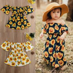 Summer Toddler Baby Girl Sunflower Skirt Sleeveless Backless
