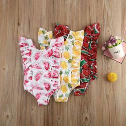 Swimwear Swimsuit Kids Baby Girls Fruit Print One Piece Swim