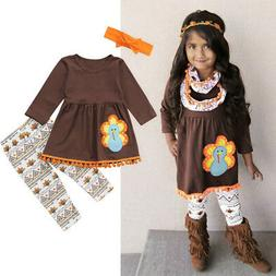 Thanksgiving Fringe Kids Baby Girl Outfits Clothes Dress Top
