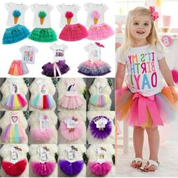Toddler Baby Girl Birthday Dressy T-Shirt Tulle Tutu Skirt O