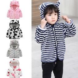 Toddler Baby Girl Boy Ear Zipper Print Thick Hooded Coat Win