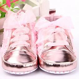 Toddler Baby Girl Cute Rose Flower Shoes Sole Lace up Walkin