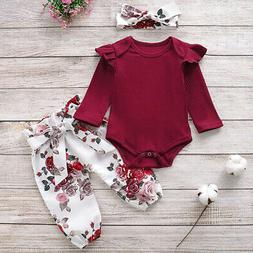 Toddler Baby Girl Long Sleeve Romper Tops Floral Pants Headb
