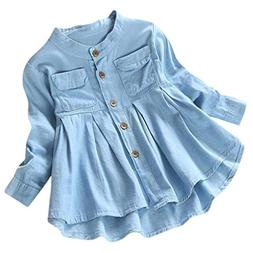 Goodtrade8 Toddler Baby Girl Ruffle Denim T-Shirt Tops Blous