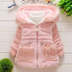 Toddler Baby Girl Winter Coat Warm Fluffy Hooded Jacket Chil
