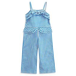Emmababy Toddler Baby Girls Blue Striped Romper Jumpsuit Ove