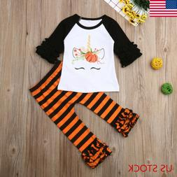 Toddler Baby Girls Clothes Long Pants Tops Halloween Shirt+L