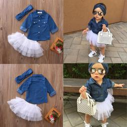 Toddler Baby Girls Fashion Denim Shirt Tops Tutu Dress Cloth