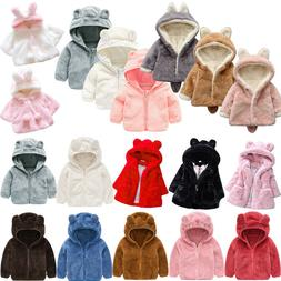 Toddler Baby Girl Hoodie Fleece Coat Tops Winter Hooded Outw