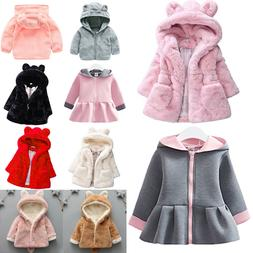 Toddler Baby Kids Girls Fleece Coats Faux Fur Rabbit Bunny E