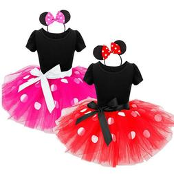 Toddler Baby Girls Minnie Mouse Bowknot Dots Tutu Dress Birt