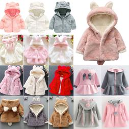 Toddler Baby Kids Girls Fleece Ear Hooded Coat Winter Warm T