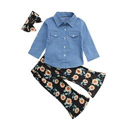 Toddler Girls Baby Button-Down Shirts Denim Tops and Sunflow