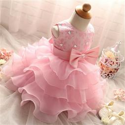 Toddler Girl Dress Baby Girls Princess Tutu Baptism Gown 1st