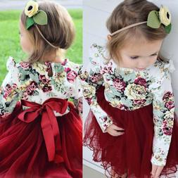 Toddler Kid Baby Girl Floral Long Sleeve Tulle Tutu Skirts D