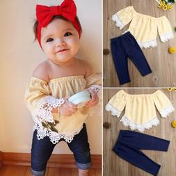 Toddler Kid Baby Girl Outfit Clothes Off Shoulder Shirt T-sh