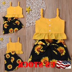 Toddler Kid Baby Girl Summer Leisure Ruffle Sling Top Shorts