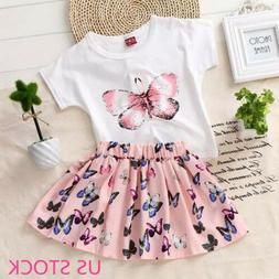 Toddler Kid Baby Girl Summer Top T-shirt+Skirt Dress Outfit