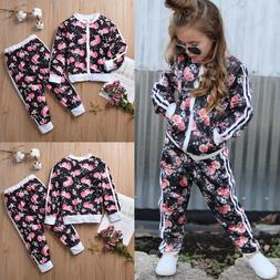 Toddler Kid Baby Girl Tracksuit Floral Sweat Shirt Tops+Pant