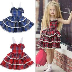 Toddler Kids Baby Girl Dress Lace Plaid Tutu Layered Party D