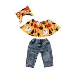 Canis Toddler Kids Baby Girl Floral Tops + Denim Pants Jeans