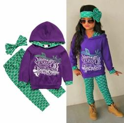 Toddler Kids Baby Girl Mermaid Hoodie Tops Pants Leggings Ou