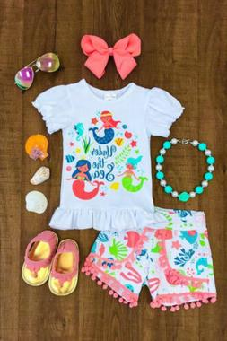 Toddler Kids Baby Girl Mermaid Top T-shirt Pants Clothes Out
