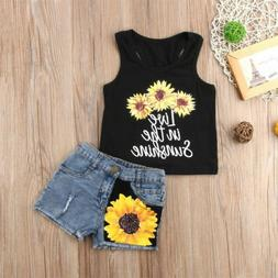 Toddler Kids Baby Girl Sunflower Tops T-Shirt+Denim Shorts 2