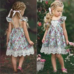 toddler kids baby girls cartoon floral dress