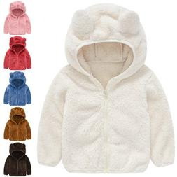 Toddler Kids Baby Girls Fleece Winter Teddy Bear Ear Zipper
