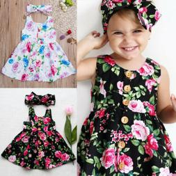 Toddler Kids Baby Girls Floral Dress Princess Party Summer S