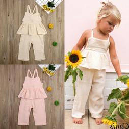 Toddler Kids Baby Girls Romper Dress Jumpsuit Trousers Outfi