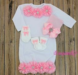 Twin Baby Girl Infant Gown baby pajama hat socks mittens bab