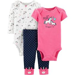 Unicorn Baby Girl 3 Piece Outfit 2 Bodysuits Pants NWT Carte