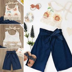 US 2PCS Kid Baby Girl Outfit Summer Sleeveless Tassel Top+Pa