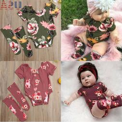 US 2PCS Newborn Infant Baby Girl Outfits Clothes Set Romper