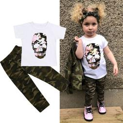 US 2PCS Toddler Baby Girl Boys Cotton Tops Camouflage Long P