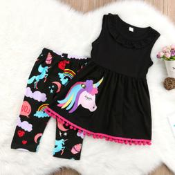 US 2pcs Toddler Baby Girls Kids Cotton Unicorn Tops Dress+Pa