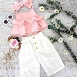 US 3PCS Kid Baby Girl Ruffle Crop Tops Pants Trousers Outfit