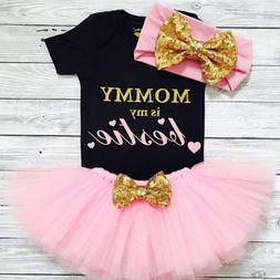 US 3PCS Newborn Baby Girl Clothes Romper Bodysuit+Tutu Skirt