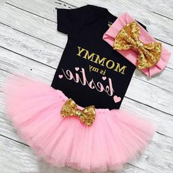 US 3PCS Newborn Baby Girl Clothes Romper Jumpsuit+Tutu Skirt
