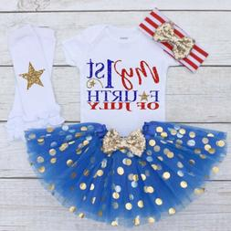 US 4PCS Newborn Baby Girl Clothes 4th of July Romper Bodysui
