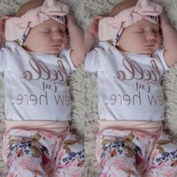 US 4PCS Newborn Infant Baby Girl Outfit Clothes Romper Bodys