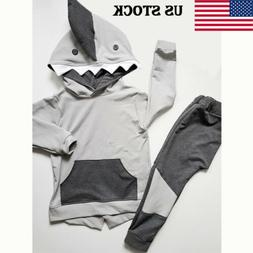 US Baby Boy Girl Infant Clothes Autumn Winter Hooded Tops+Pa