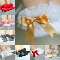 US Baby Girl Lace Ruffle Tutu Socks Newborn Frilly Ankle Pri