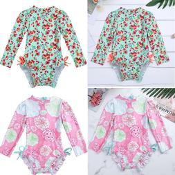 US Baby Girl Long Sleeve Swimwear Floral Ruffle Swimsuit Bat